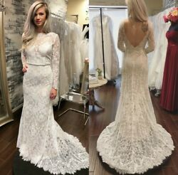 Wedding Dresses for Girls Bridal Gowns Long Sleeves Sheath Column Lace Appliques $159.68