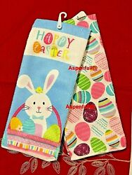 Sale Easter Bunny amp; Easter Eggs Decorative Kitchen Towels SET 2 NWT $9.99