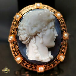44.5g Large 18k Museum Quality High-relief Agate Hardstone Cameo Brooch 1850
