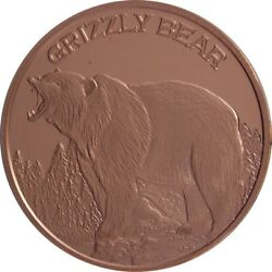 1 oz Copper Round Grizzly Bear $2.70