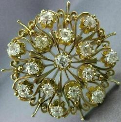 ANTIQUE LARGE 3.50CT OLD MINE DIAMOND 14KT YELLOW GOLD FLORAL PENDANT PIN 23776
