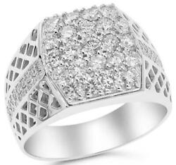 ESTATE LARGE 1.90CT DIAMOND 18KT WHITE GOLD 3D PAVE SQUARE CLUSTER FILIGREE RING