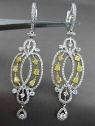 ANTIQUE LARGE LONG 2.24CT DIAMOND 18KT TWO TONE GOLD CHANDALIER HANGING EARRINGS