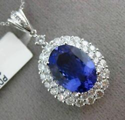 ESTATE LARGE 6.6CT DIAMOND & AAA TANZANITE 18K WHITE GOLD 3D DOUBLE HALO PENDANT