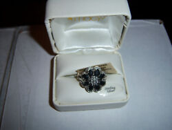 NW SHARP Sterling Silver 925 BRIDGE PEARL ONYX DIAMOND ACCENT FLOWER RING SIZE 7
