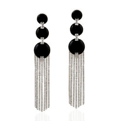 Easter Gift 22.33ct Natural Onyx Chandelier Earrings 18k White Gold Jewelry
