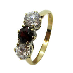 9ct Yellow Gold Solid 3 Stone Trilogy Red & White Round CZ Eternity Ring Size Q