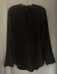 EQUIPMENT Black Silk Blouse Shirt Sz M