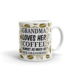 Grandma Loves Her Coffee As Much As Grandkids Cup Gift Coffee Tea Ceramic Mug $17.99