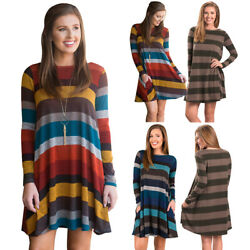 Women Long Sleeve Stripe Pullover Baggy Swing Fall Tunic T-Shirt Casual Dress US
