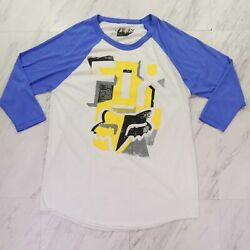 Fox Large Regular Fit White Blue 3 4 Sleeves Graphic Tee $24.00