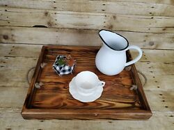 Rustic Handmade Wood Serving Tray Ottoman Coffee Table Rope Handles Light Brown
