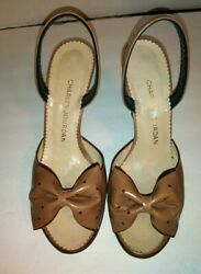 Vintage CHARLES JOURDAN Tan Leather Pumps with Bows Size 6 Made in France Nice