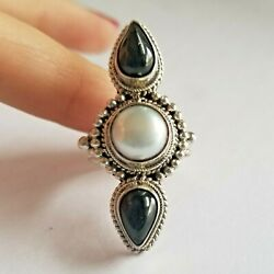 Onyx & Pearl Sterling Silver Ring Size 7