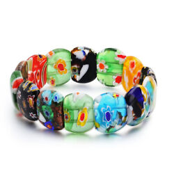 Colorful Glass Creative Colored Print Fashion Jewelry Elastic Bracelet for Women