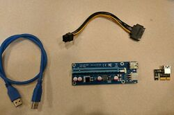 PCI-E Riser Express Cable 16X to 1X 6 Pin Power In for Crypto Mining
