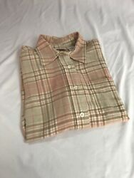 Monterey Flannel Plaid Pink Brown Size Small