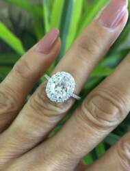 2.10 Ct Oval Cut Diamond Women's Halo Engagement Ring In 14k White Gold Over