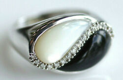 Ying Yang style 14K White Gold Mother of Pearl Onyx Diamond Ring Size 7 04537LH