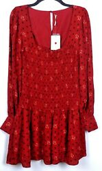 Free People Mini Dress Size M Red Two Faces Boho Long Sleeve Smocked $128