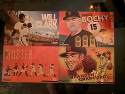 4 SF Giants 2019 Authentic Fan Cheer Cards  Bruce Bochy Clark Posey Crawford
