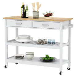 Rolling Kitchen Cart Island Trolley with Rubberwood Top White