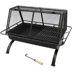 Rectangular Fire Pit Outdoor Fireplace Wood Burning Grill Screen Cover Metal Blk