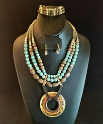 Turquoise Necklace Gold Plated Wood Bead BIG Medallion + Earrings 2 Bracelets