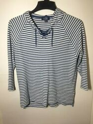 New CHAPS Long Sleeve Cotton Knit Hoodie Pull Over Top Women Size Medium $12.99