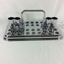 Old LDS Sacrament Water Tray Mormon Glass Silver Cup Old Antique Holder Dish $499.00