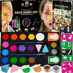 Face Paint Kit for Kids 60 Jumbo Stencils15 Large Water Based Paints2 Glitters