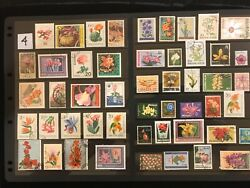 EXOTIC FLOWERS amp; PLANTS ON STAMPS TOPIC Stamp Collection FREE SHIPPING LOT 4 $10.00