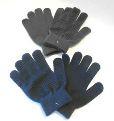 2 Pairs of Kids Winter Gloves Gray and Navy One Size New $8.00