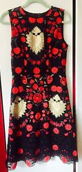 NWT Dolce & Gabbana Runway Gold Sacred Heart Red Black Lace Embroidered Dress 44