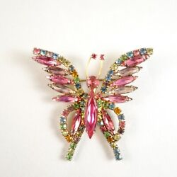 Vintage Multi-Color Rhinestone Butterfly Brooch