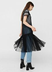 Mango Black Net Tulle Midnight Goth Ruffle Dress S