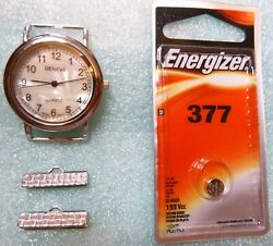 Geneva Elite Silver Tone Watch Face for Jewelry Making and New Energizer Battery
