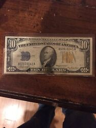 (1) 1934 A $10 Silver Certificate North Africa Note Yellow Seal