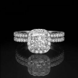 DIAMOND RING HALO FLAWLESS 14 KT WHITE GOLD WOMENS 2.1 CARAT VS1 D SIZE 6 7 8