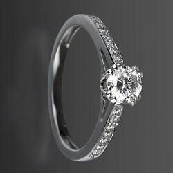ANNIVERSARY VVS1 D 1.38 CARAT SOLITAIRE ACCENTED DIAMOND RING 18 KT WHITE GOLD