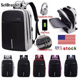 Mens Womens Digit Anti Theft Lock USB Charging Laptop Backpack Travel School Bag $16.98