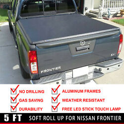 Lock & Soft Roll Up Tonneau Cover Fit 2015-2018 Nissan Frontier 5 Ft Short Bed