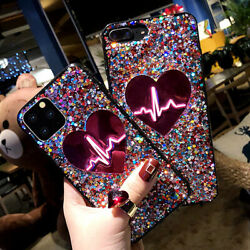 F iPhone 12 Pro Max 11 8Plus XS Max XR Bling Glitter Heart Cute Phone Case Cover