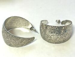 VINTAGE LARGE HOOP PIERCED EARRINGS WITH ETHCED FLOWER FLORAL DESIGN