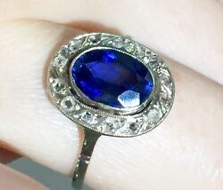 RARE Authentic antique French Natural eye clean Sapphire Diamonds 18k gold ring