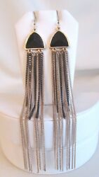 STUNNING GOLD TONE BLACK FAUX CRYSTAL & CHAINS  DANGLE PIERCED EARRINGS