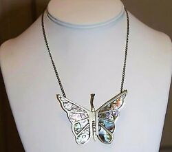 Vintage Alpaca Mexico Marked Silver Abalone Inlay Large Butterfly Necklace NC7