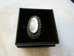 Beautiful sterling 925 Cocktail Ring Marcasite & Mother of Pearl size 7 plus