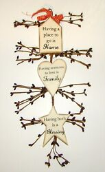 Rustic Country Wood and Pip Plaque quot;HOME FAMILY BLESSINGquot; Inspirational decor $5.95