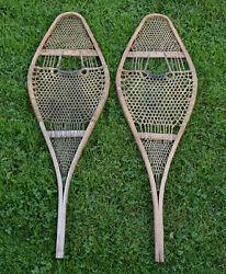 11 x 36 Vintage 1940s Winter SNOWSHOES for Child Canada Fine webbing CANADA $100.00